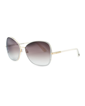 Solange Metal Square Sunglasses, White