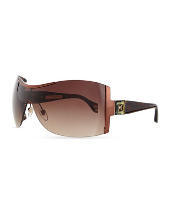 Rimless Shield Sunglasses with Plastic Arms, Brown