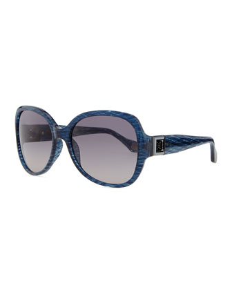Round Plastic Sunglasses with Gradient Lens, Shimmery Blue