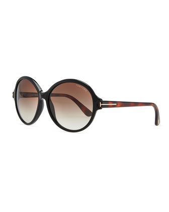 Milena Plastic Oval Sunglasses, Black/Brown