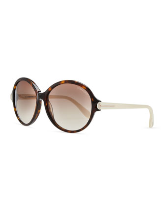 Plastic Oval Sunglasses, Brown/Ivory