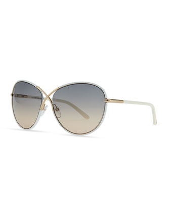 Rosie Ivory Plastic & Golden Metal Sunglasses