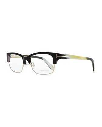 T-Temple Plastic/Metal Half-Rim Fashion Glasses, Black Horn