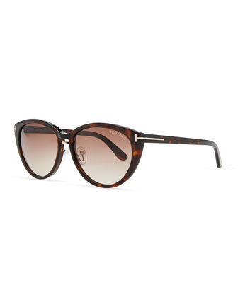 Acetate Cat-Eye Sunglasses, Havana