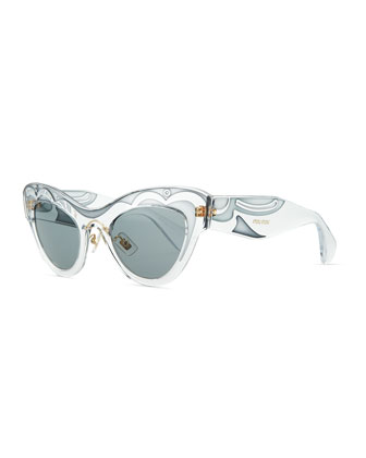 Patterned Clear Cat-Eye Sunglasses, Blue