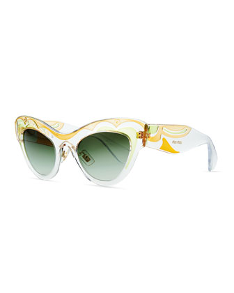 Patterned Clear Cat-Eye Sunglasses, Yellow/Green