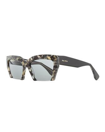 Cutoff Square Sunglasses, Gray Havana