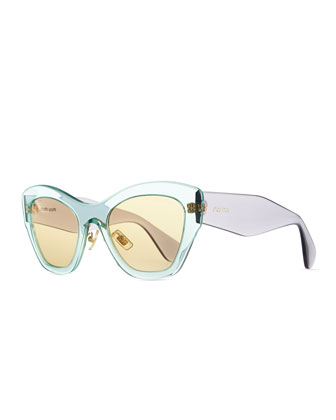 Clear Plastic Cat-Eye Sunglasses, Green/Purple