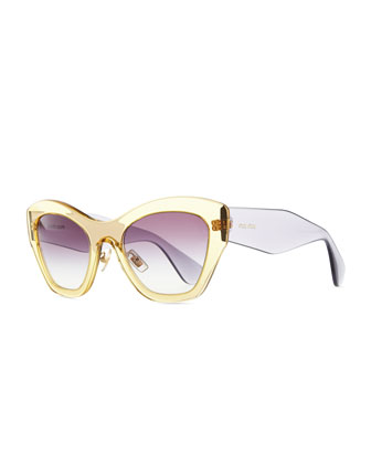 Clear Plastic Cat-Eye Sunglasses, Yellow/Purple