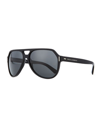 Plastic Aviator Sunglasses, Black