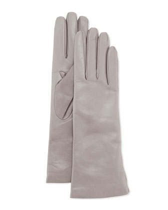 Cashmere-Lined Leather Gloves, Gray