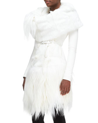 Down-Fill Goat Fur Collar