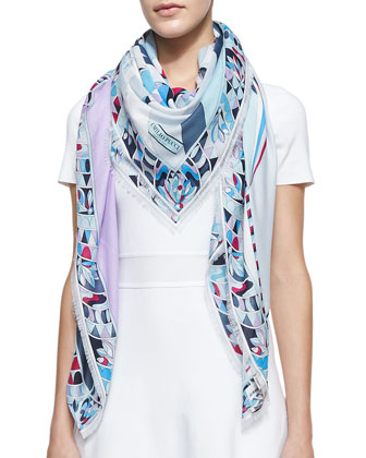 Astana Printed Square Fringe Scarf, Lilac