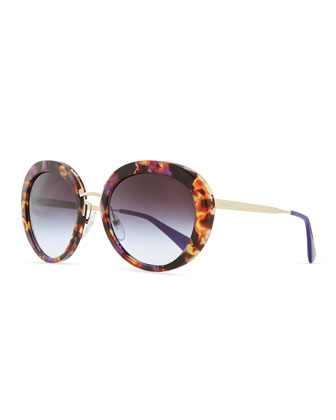 Round Thin-Temple Sunglasses, Violet