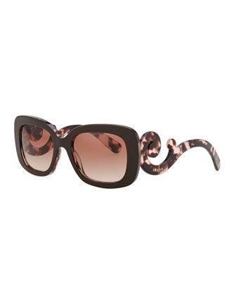 Square Baroque Sunglasses, Brown