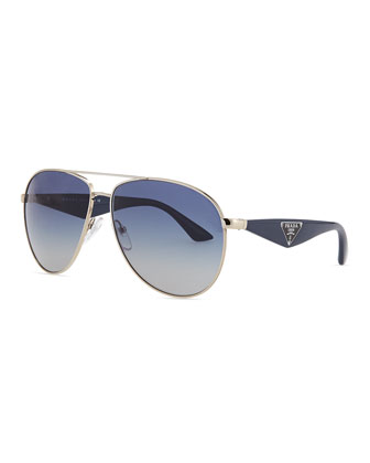 Double Bar Aviator Sunglasses, Silver/Blue