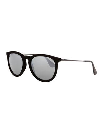 Erika Round Plastic Sunglasses, Black