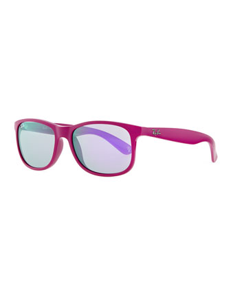 Plastic Square Sunglasses with Mirrored Lens, Violet