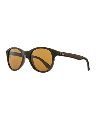 Round Acetate Sunglasses, Brown/Amber