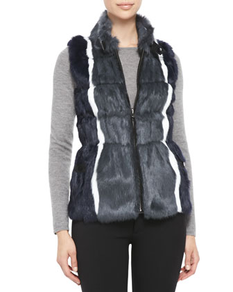 Reversible Striped-Rabbit-Fur Vest