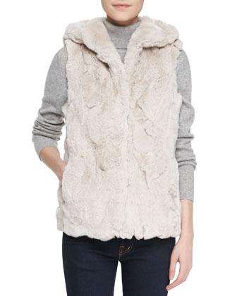 Hooded Rabbit Fur Vest, Blush