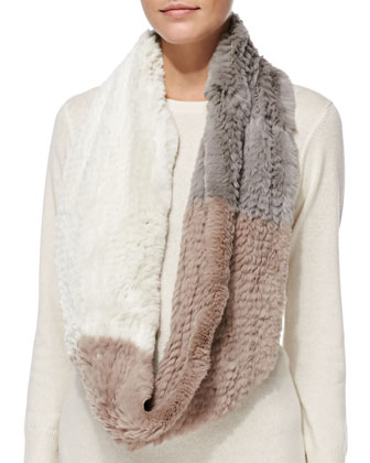 Colorblock Rabbit Fur Infinity Scarf, Cement/Ivory