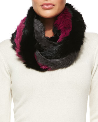 Rabbit Fur Infinity Scarf, Gray/Pink