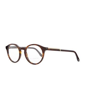 Round Acetate Fashion Glasses, Dark Tortoise