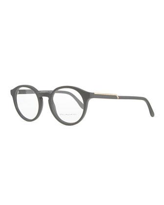 Round Acetate Fashion Glasses, Medium Gray