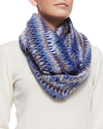 Zigzag Space-Dyed Knit Infinity Scarf, Blue