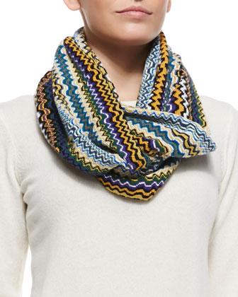 Zigzag Knit Infinity Scarf, Green/Multi