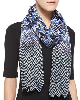 Zigzag Knit Scarf, Blue