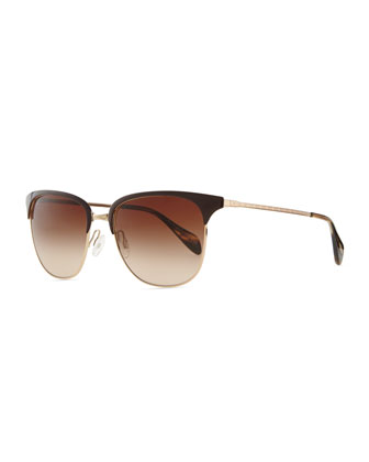 Plastic/Metal Half-Rim Sunglasses, Brown