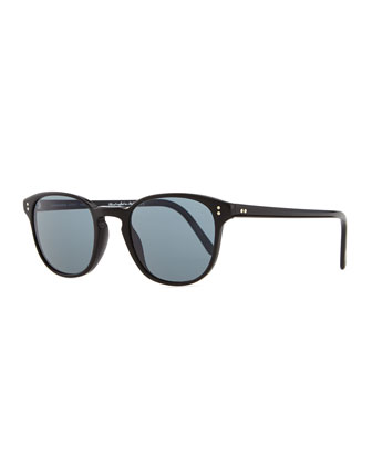 Plastic Square Sunglasses, Black/Blue