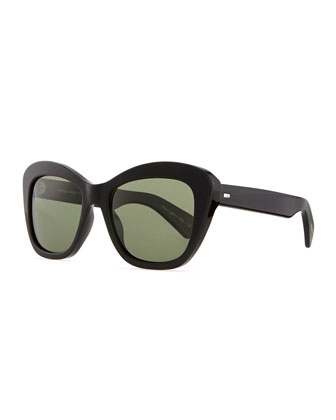 Emmy Plastic Square Polarized Sunglasses, Black