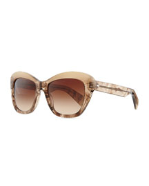 Marbled Square Sunglasses, Gray