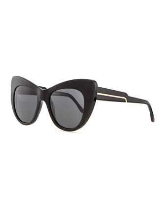 Thick Plastic Cat-Eye Sunglasses, Black