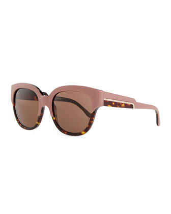 Thick Plastic Square Sunglasses, Pink/Tortoise