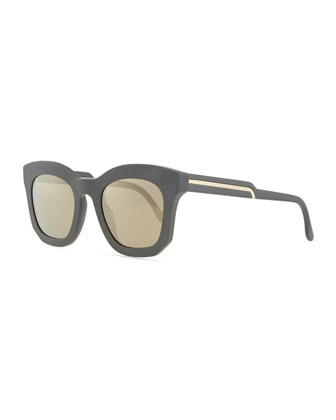 Thick Plastic Square Sunglasses, Gray