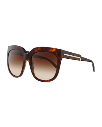 Havana Plastic Square Sunglasses, Brown