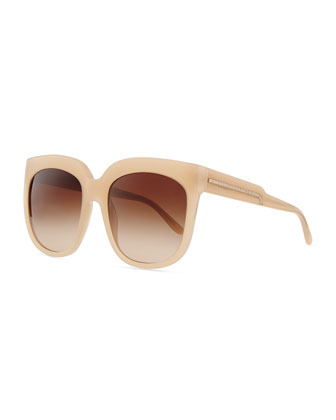 Oversized Plastic Square Sunglasses, Beige