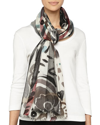 Cashmere Floral and Check Scarf