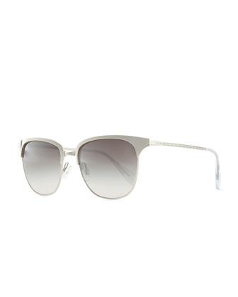 Leiana Metal Half-Rim Sunglasses, Silver