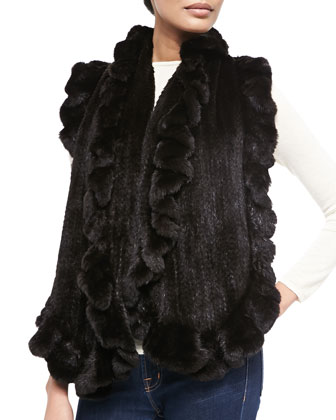 Knit Mink Fur Ruffle Shawl, Black