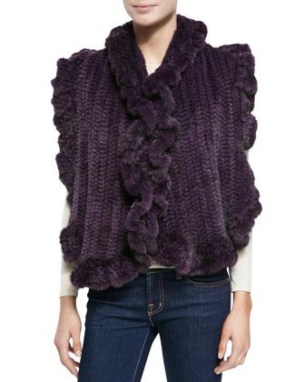 Knit Mink Fur Ruffled-Detail Vest, Violet