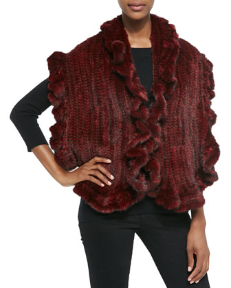 Knit Mink Fur Rufflled-Detail Vest, Red