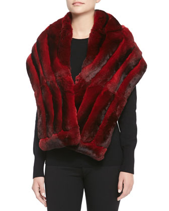 Chinchilla Fur Shawl, Scarlet
