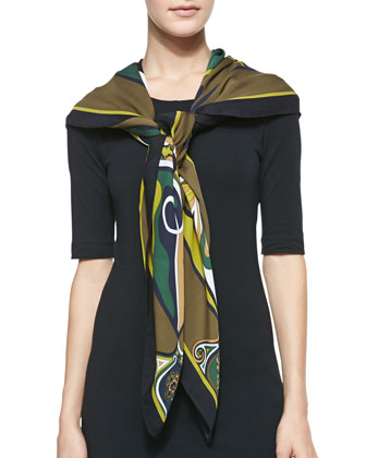 Orchidee Show Square Scarf, Brown