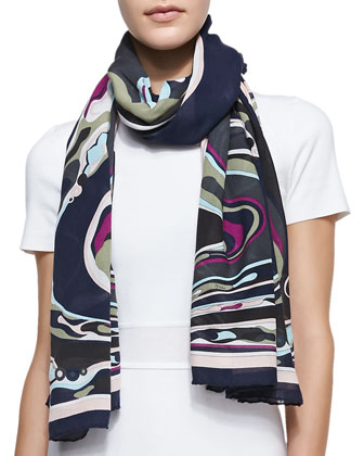 Orchidee Show Scarf, Navy