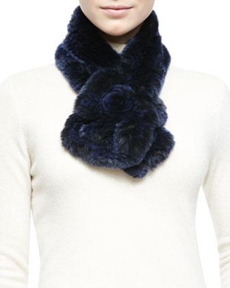 Rex Rabbit Fur & Knit Scarf, Navy